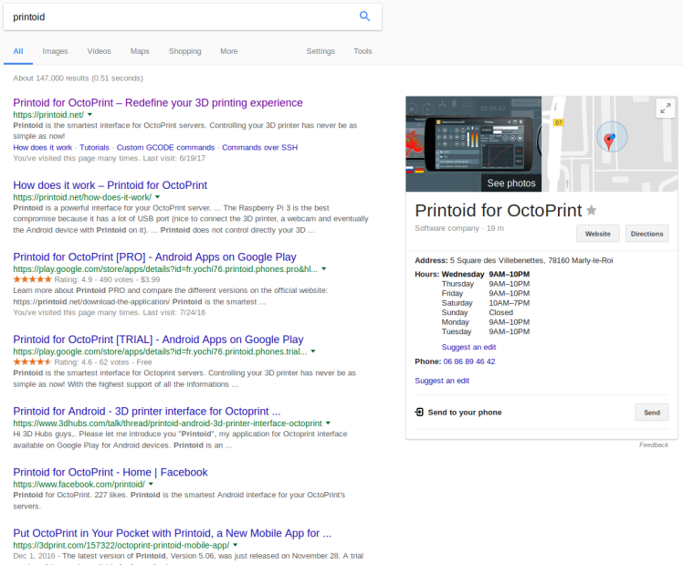 Printoid is now more visible on Google – Printoid for OctoPrint