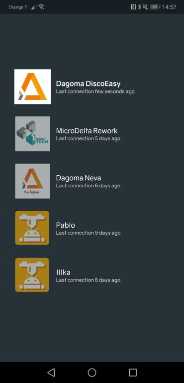 The profile selector screen